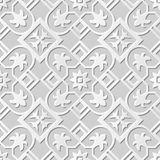 Vector damask seamless 3D paper art pattern background 074 Square Cross Flower Stock Images