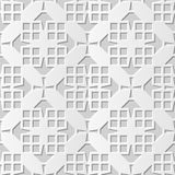 Vector damask seamless 3D paper art pattern background 137 Square Cross Geometry. Antique paper art retro abstract seamless pattern background Royalty Free Stock Photos