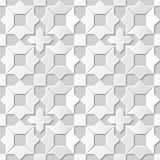 Vector damask seamless 3D paper art pattern background 109 Star Cross Square Royalty Free Stock Image