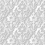 Vector damask seamless 3D paper art pattern background 200 Vintage Leaf Royalty Free Stock Image
