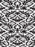 Vector damask seamless floral pattern black and white background Stock Photography