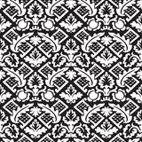 Vector damask seamless floral pattern black and white background Stock Images