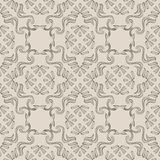 Vector damask seamless pattern background aboriginal curve spira. L vortex cross frame line Vector Illustration