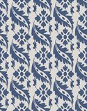 Vector damask seamless pattern background blue curve spiral cros. S frame leaf vine flower Stock Photography