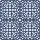 Vector damask seamless pattern background blue spiral curve cros. S frame tracery line Stock Photography