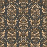 Vector damask seamless pattern background. Classical luxury old fashioned damask ornament, royal victorian seamless stock images