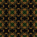 Vector damask seamless pattern background curve round cross gold Stock Photos