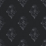 Vector damask seamless pattern dark background. Elegant luxury texture for wallpapers, backgrounds and page fill. 3D elements with shadows and highlights vector illustration