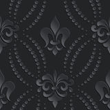 Vector damask seamless pattern dark element. Elegant luxury texture for wallpapers, backgrounds and page fill. 3D elements with shadows and highlights. Paper vector illustration