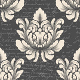 Vector damask seamless pattern element with ancient text. Classical luxury old fashioned damask ornament, royal Royalty Free Stock Photos