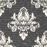 Vector damask seamless pattern element with ancient text. royalty free illustration