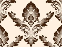Vector damask seamless pattern element. Classical luxury old fashioned damask ornament, royal victorian seamless texture. For wallpapers, textile, wrapping Stock Image