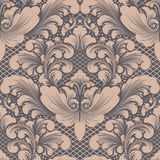 Vector damask seamless pattern element. Classical luxury old fashioned damask ornament, royal victorian seamless texture. For wallpapers, textile, wrapping Stock Photos