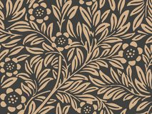 Vector damask seamless retro pattern background botanic garden nature plant leaf flower. Elegant luxury brown tone design for. Wallpapers, backdrops and page vector illustration