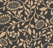 Vector damask seamless retro pattern background botanic garden nature plant leaf flower. Elegant luxury brown tone design for. Wallpapers, backdrops and page royalty free illustration