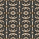 Vector damask seamless retro pattern background check polygon geometry cross star frame line flower. Elegant luxury brown tone. Design for wallpapers, backdrops vector illustration