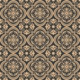 Vector damask seamless retro pattern background curve cross spiral leaf flower frame vine. Elegant luxury brown tone design for. Wallpapers, backdrops and page stock illustration