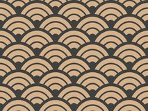 Vector Damask Seamless Retro Pattern Background Geometry Round Curve Cross Scale Frame. Elegant Luxury Brown Tone Design For Stock Photography
