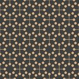 Vector damask seamless retro pattern background geometry round dot cross frame line. Elegant luxury brown tone design for. Wallpapers, backdrops and page fill royalty free illustration