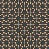 Vector Damask Seamless Retro Pattern Background Geometry Round Dot Cross Frame Line. Elegant Luxury Brown Tone Design For Royalty Free Stock Image
