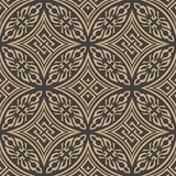 Vector damask seamless retro pattern background oriental round curve cross frame chain leaf abostract. Elegant luxury brown tone. Design for wallpapers vector illustration