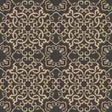 Vector damask seamless retro pattern background oriental spiral curve cross frame chain vine. Elegant luxury brown tone design for royalty free illustration