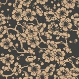 Vector damask seamless retro pattern background oriental spiral curve cross leaf frame flower plum blossom. Elegant luxury brown. Tone design for wallpapers royalty free illustration