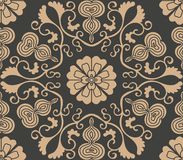 Vector damask seamless retro pattern background oriental spiral curve polygon cross leaf vine flower gourd. Elegant luxury brown. Tone design for wallpapers vector illustration