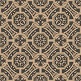 Vector damask seamless retro pattern background polygon cross frame chain leaf flower. Elegant luxury brown tone design for. Wallpapers, backdrops and page fill vector illustration