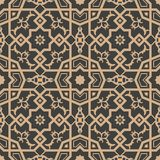 Vector damask seamless retro pattern background polygon geometry cross frame flower kaleidoscope. Elegant luxury brown tone design. For wallpapers, backdrops royalty free illustration