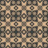 Vector damask seamless retro pattern background polygon geometry star cross flower kaleidoscope. Elegant luxury brown tone design. For wallpapers, backdrops and stock illustration