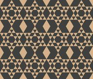 Vector damask seamless retro pattern background polygon geometry triangle cross frame check. Elegant luxury brown tone design for. Wallpapers, backdrops and royalty free illustration
