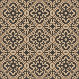 Vector damask seamless retro pattern background round curve cross frame flower kaleidoscope. Elegant luxury brown tone design for. Wallpapers, backdrops and royalty free illustration