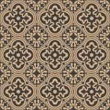 Vector Damask Seamless Retro Pattern Background Round Curve Cross Frame Flower Kaleidoscope. Elegant Luxury Brown Tone Design For Stock Photo