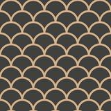 Vector Damask Seamless Retro Pattern Background Round Curve Cross Scale Frame Line. Elegant Luxury Brown Tone Design For Stock Images