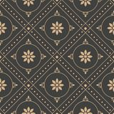 Vector damask seamless retro pattern background round geometry check cross frame dot line flower. Elegant luxury brown tone design. For wallpapers, backdrops stock illustration