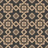 Vector damask seamless retro pattern background spiral check cross frame chain flower. Elegant luxury brown tone design for. Wallpapers, backdrops and page fill vector illustration