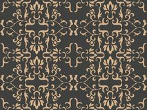 Vector damask seamless retro pattern background spiral curve cross botnaic garden frame leaf vine flower. Elegant luxury brown. Tone design for wallpapers stock illustration