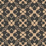 Vector damask seamless retro pattern background spiral curve cross leaf frame vine flower. Elegant luxury brown tone design for. Wallpapers, backdrops and page vector illustration