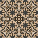 Vector damask seamless retro pattern background spiral curve cross leaf frame vine flower. Elegant luxury brown tone design for. Wallpapers, backdrops and page stock illustration