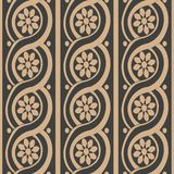 Vector Damask Seamless Retro Pattern Background Spiral Round Curve Cross Frame Line Flower. Elegant Luxury Brown Tone Design For Royalty Free Stock Photo