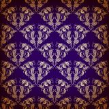Vector damask seamless on violet background Royalty Free Stock Images