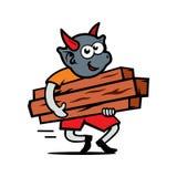 Vector Damn carries firewood Cartoon Illustration. Royalty Free Stock Photos