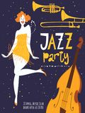 Vector dance jazz party poster. With beautiful dancing girl and musical instruments. Charleston dance party Stock Photography
