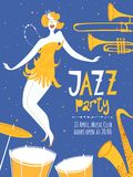 Vector dance jazz party poster. With cute dancing girl and jazz musical instruments Royalty Free Stock Photography
