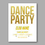 Vector dance party flyer golden style template Stock Photography