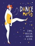 Vector dance party posters. With cute dancing girl. Charleston dance party Royalty Free Stock Image
