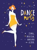 Vector dance party posters. With cute dancing girl. Charleston dance party Stock Images