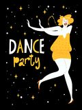 Vector dance poster with a girl dancing charleston. Vintage style poster Royalty Free Stock Photography