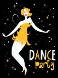 Vector dance poster with a girl dancing charleston. Vintage style poster Stock Photos